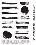 set of vector black pen ink... | Shutterstock .eps vector #566612134