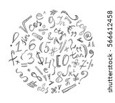 black hand drawn doodle symbols ... | Shutterstock .eps vector #566612458