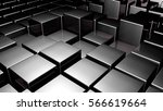 black 3d glossy plastic cubes.... | Shutterstock . vector #566619664
