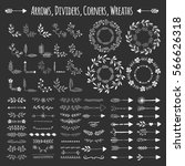 set of vector arrows  wreaths ... | Shutterstock .eps vector #566626318
