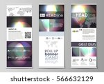 set of roll up banner stands ... | Shutterstock .eps vector #566632129