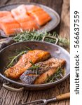 Grilled Salmon Fillets And Her...
