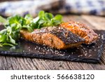 salmon fillets. grilled salmon  ... | Shutterstock . vector #566638120
