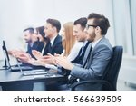 photo of happy business people... | Shutterstock . vector #566639509