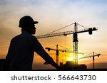 portrait of engineer silhouette ... | Shutterstock . vector #566643730