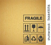 package handling labels on... | Shutterstock .eps vector #566645056
