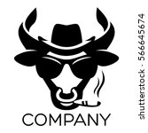 modern bull with cigar in hat... | Shutterstock .eps vector #566645674