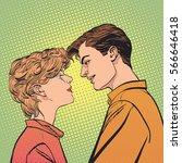 lovers couple kissing  romantic ... | Shutterstock .eps vector #566646418