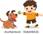Stock vector happy young boy playing with his dog 566648326