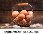 Fresh Eggs In A Basket On...