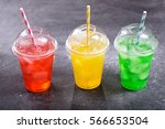 colorful cold drinks in plastic ... | Shutterstock . vector #566653504