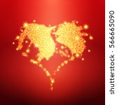 golden glitter heart with... | Shutterstock .eps vector #566665090