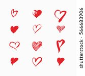 hand drawn hearts by vector... | Shutterstock .eps vector #566683906