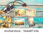 retro camera and instant paper... | Shutterstock . vector #566687146