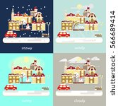 four types of different winter...   Shutterstock . vector #566689414