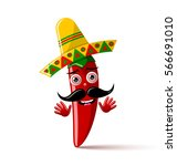 red chilli pepper character... | Shutterstock .eps vector #566691010
