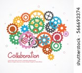 gears brain for cooperation or... | Shutterstock .eps vector #566693374