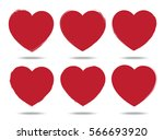 heart set of brush stroke style ... | Shutterstock .eps vector #566693920