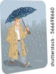 a man with an umbrella and coat ... | Shutterstock .eps vector #566698660