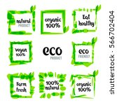 set of green labels and badges... | Shutterstock .eps vector #566702404