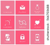 set of icons for romantic events | Shutterstock .eps vector #566703688