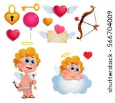 vector set of cute cupids and... | Shutterstock .eps vector #566704009