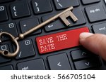 closed up finger on keyboard... | Shutterstock . vector #566705104