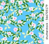 seamless floral pattern from... | Shutterstock . vector #566705179