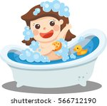 a baby girl taking a bath in... | Shutterstock .eps vector #566712190