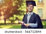 happy man portrait on her... | Shutterstock . vector #566712844