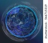 global network satellite... | Shutterstock . vector #566715319