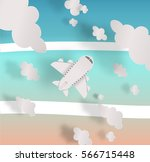 airplane aerial view paper art... | Shutterstock .eps vector #566715448