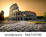 Colosseum And Yellow Sky In...