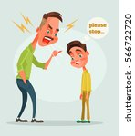 father character scolds son.... | Shutterstock .eps vector #566722720