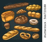 set bread. isolated on the...   Shutterstock .eps vector #566723188