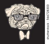 Face Of Dog With Black Glasses...