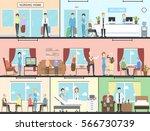 nursing home interior set.... | Shutterstock .eps vector #566730739