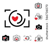 digital camera and heart icons... | Shutterstock .eps vector #566736070