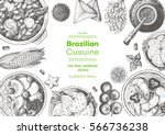 brazilian cuisine top view... | Shutterstock .eps vector #566736238