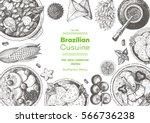 brazilian cuisine top view... | Shutterstock .eps vector #566736238