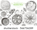 brazilian cuisine top view... | Shutterstock .eps vector #566736289