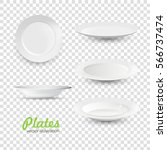 set of empty white plate on