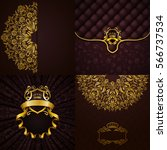 set of luxury ornate... | Shutterstock .eps vector #566737534