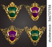 set of golden royal shields... | Shutterstock .eps vector #566737558