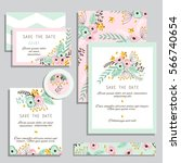 vintage wedding invitation set... | Shutterstock .eps vector #566740654