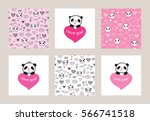 Stock vector set of greeting cards and seamless patterns with cute pandas and hearts wrapping paper for 566741518