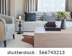stylish living room design with ... | Shutterstock . vector #566743213