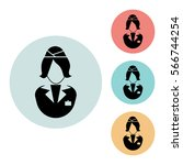 stewardess icon isolated vector ...