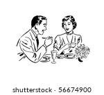 Couple Dining   Retro Clip Art