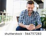 handsome bearded man in checked ...   Shutterstock . vector #566757283